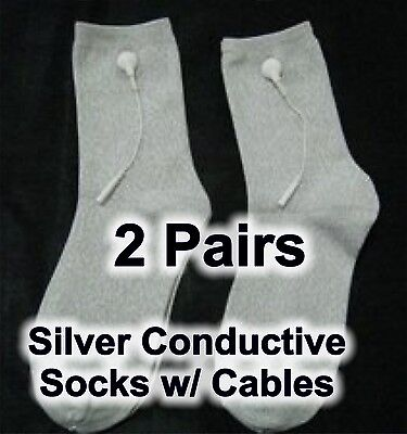 2X Silver Conductive Socks w/ TENS cables - Feel Calm and Sleep Better!