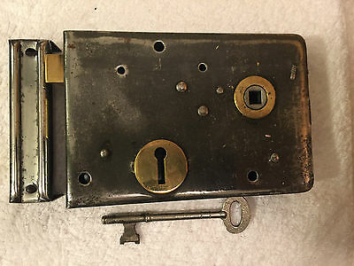 Antique Polished Steel Rim Lock With Key And Keep