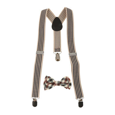 Adjustable Suspender Clip-on Braces and Bow Tie Set for Baby Toddler Kids Boys