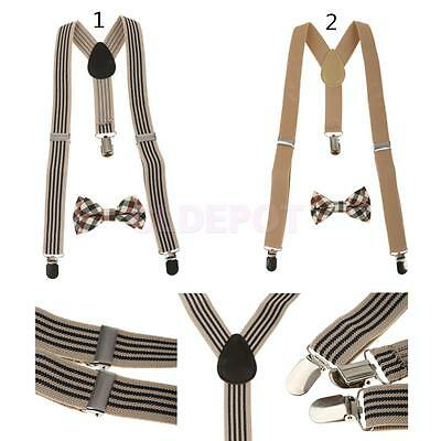 Plaid Bowtie Y-back Suspender Set Clip-on Braces for Toddler Kids Boys Girls