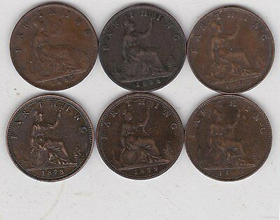 6 Victoria Bronze Farthings Dated 1878 To 1893 In Very Fine Or Better Condition