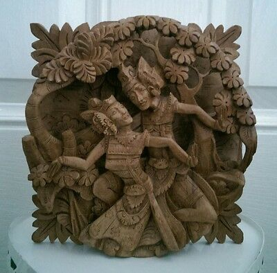 Intricate Hindu Wooden Wall Hanging Hand Carved Art ( Gods ?) Wood Asian Statue