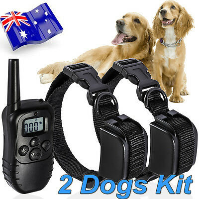 300M Pet Remote TRAINING ANTI BARK VIBRATION STOP BARKING Collar for 2 Dogs Twin