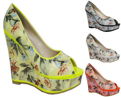 Wholesale Joblot Ladies Floral Wedge Shoes 12 X Pairs Brand New