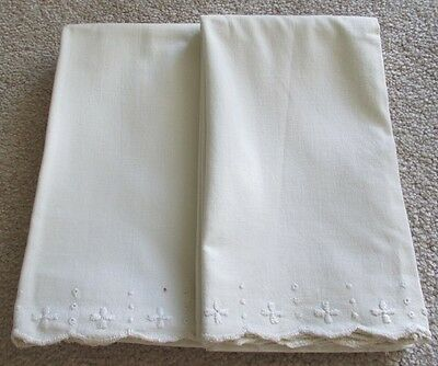 """Vintage Handmade Embroidered Pillowcases Pair of 21 x 36""""L Off White Beige Ecru"""