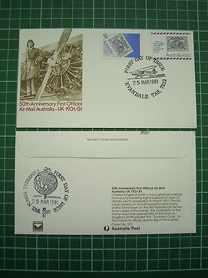RARE - 50th Ann 1st Official Airmail Aust UK 2 FDI Pmks Evandale & Campbell Town