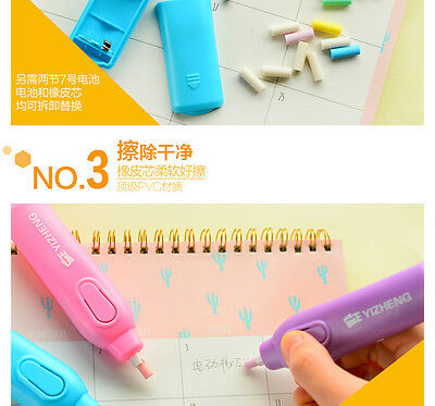 Blue Pink Electric Battery Operated Pencil Eraser Rubber Pen + 30 Refills