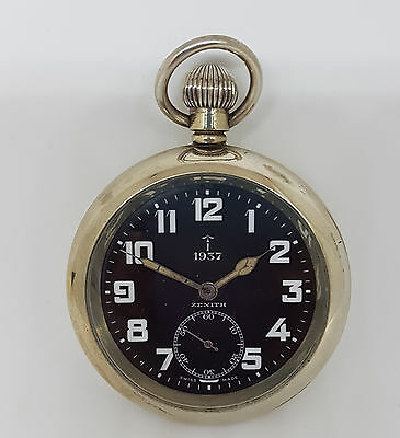 Zenith'' 1937 - Military Pocket Watch Black Dial Large