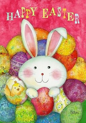 """Happy Easter Garden Flag Bunny Decorated Eggs Briarwood Lane 12.5"""" x 18"""""""