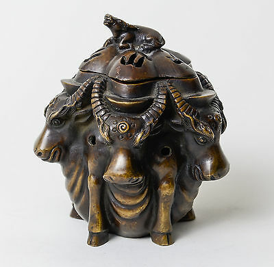 Antique Tibetan-Chinese Cast Bronze Water Buffalo Censer / Incense Burner