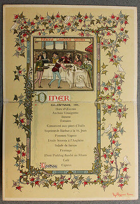 Collezionismo Menu cena di Natale illustrato Hotel Savoy 1905 London
