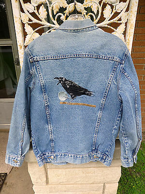 "Black Crow Raven Embroidered Denim Jean Jacket 40"" mens womens Halloween S M"