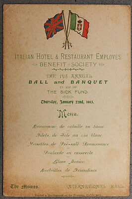 Collezionismo Menu Italian Hotel Employes 1903 International Mall