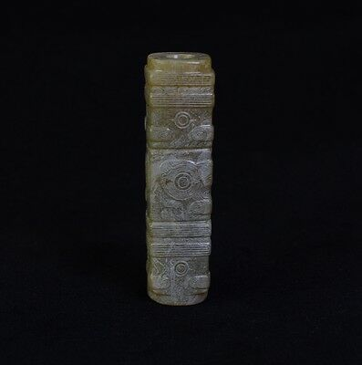 Chinese LiangZhu Style Symbols God Face Sacrificial Yellow Jade Cong-JR12615