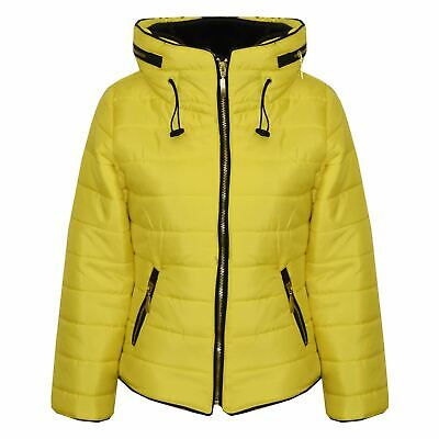 Girls Jacket Kids Padded Mustard Puffer Buble Fur Collar Quilted Warm Thick Coat