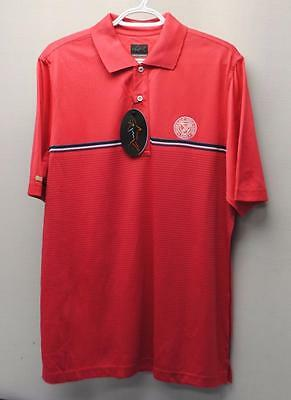 New Mens Greg Norman Play Dry polyester Red striped golf polo shirt Medium