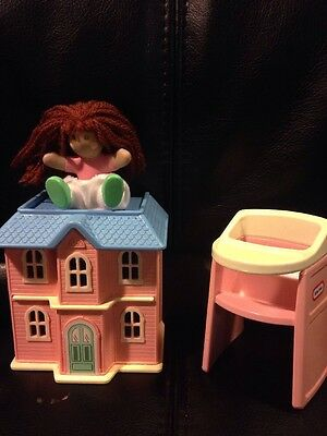 Little Tikes Dollhouse Miniature Pink House Baby Doll Toy Highchair Toy