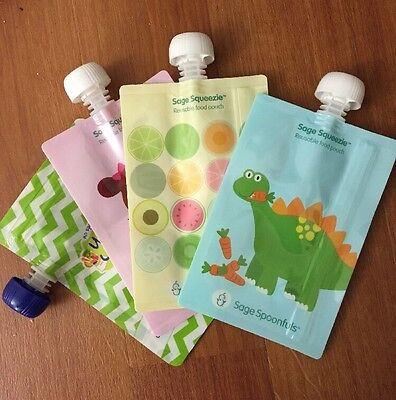 REUSABLE BABY FOOD POUCH REFILLABLE 4 Pack Bpa Pvc Phthalate Free NEW 7 Oz