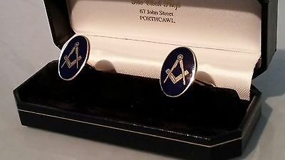 Masonic heavy 9ct gold cufflinks with blue enamel set square & compasses boxed