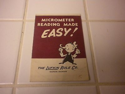 Vintage 1950's Booklet Micrometer Reading Made Easy The Lufkin Rule Co.
