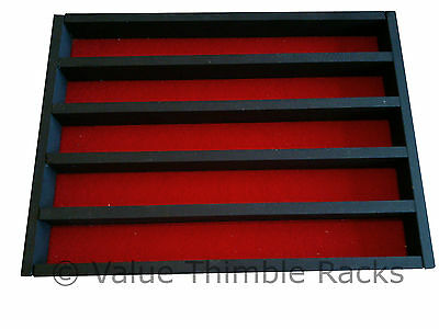50 thimble display rack in matt black with red felt back