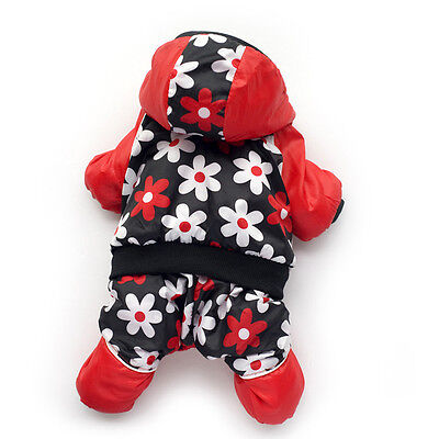 Winter Pet Dog Flower Jumpsuit Jacket Warm Puppy Coat Hoodie Dogs Apparel Outfit