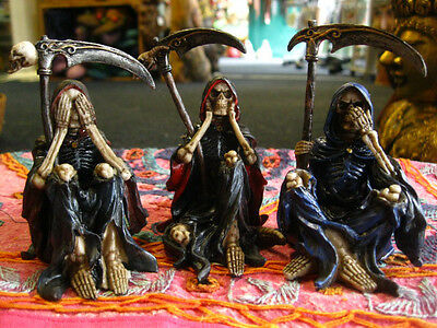 SEE NO HEAR NO SPEAK NO EVIL Reapers FIGURES Ornaments SET OF 3 Wise GOTHIC