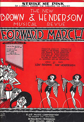 """Lew Brown """"FORWARD MARCH"""" (Strike Me Pink) Ray Henderson 1932 Tryout Sheet Music"""