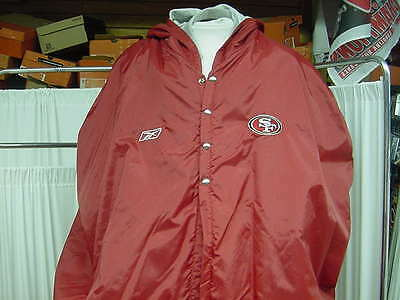NFL San Francisco 49ers Game Worn Reebok Sideline Player Jacket Cape Size: Large