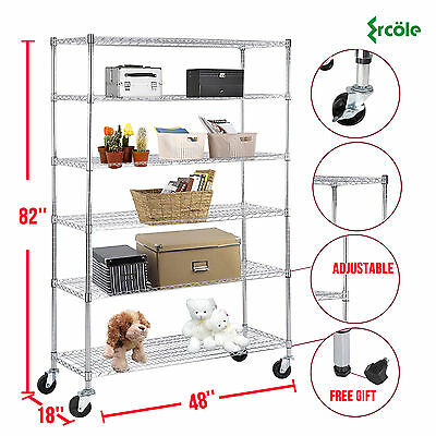 "82""x48""x18"" Heavy Duty 6 Tier Wire Shelving Rack Steel Shelf Adjustable Chrome"