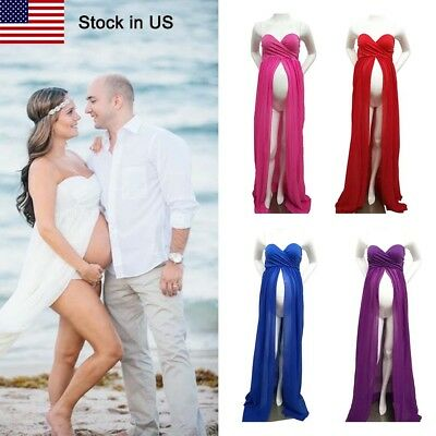 Maternity Maxi Wedding Party Dress Chiffon Gown Plus Size Photography 8 Color