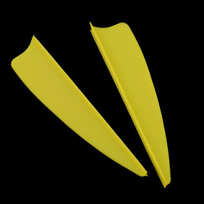 """50X 3/"""" Plastic Arrow Vane Fletching Wing for DIY Archery Bow Replacement Yellow"""