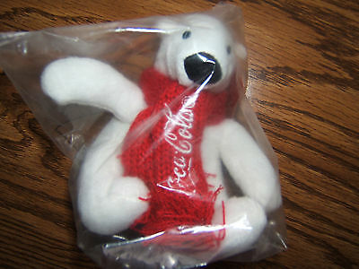"NIP Coca-Cola 4"" White Polar Bear w/ Red Scarf Arctic Home Stuffed Animal/Plush"