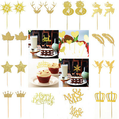 20pcs Glitter Cake Topper Stick Birthday Party Christmas Cupcake Centerpieces