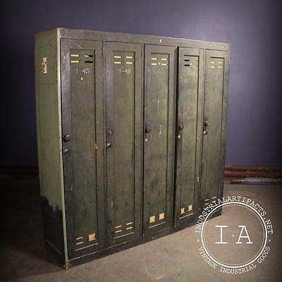 Vintage Industrial Work Lockers Breakroom Storage