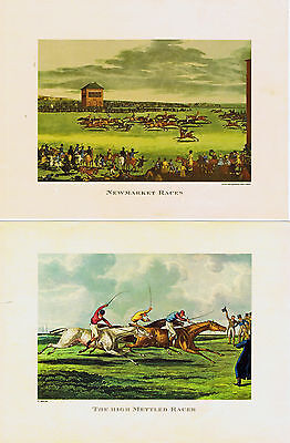 Pair of Steeple Chase Fox Hunting Prints Horse Hounds Picture Foxhunting Vintage