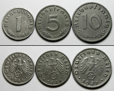 A468 Alemania nazi 1941 Lote 3 monedas - Germany WWII svastica 3 coins set