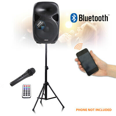 "15"" Active Speaker Portable PA System Mic Stand Wireless Bluetooth Streaming"