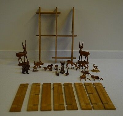 wooden display shelve and miniature animals