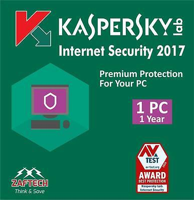 Kaspersky Internet Security 2017 new version-1PC -1 year Uk/Europe only