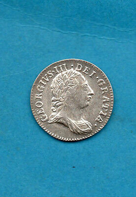 1762 KING GEORGE III SILVER THREEPENCE COIN IN BEAUTIFUL CONDITION.  3d.