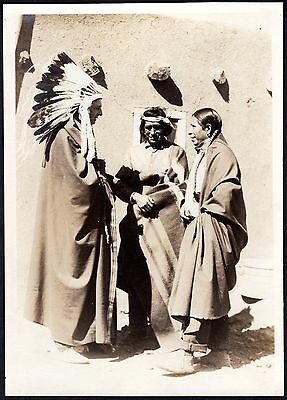 c.1924 President Calvin Coolidge with Headdress ~Navajo / Pueblo Indian Citizens