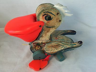 Vintage Fisher Price Big Bill Pelican Pull Along #794 Pull String Wood Toy