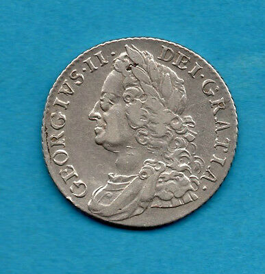 1758 King George Ii Silver Shilling Coin.   1/-