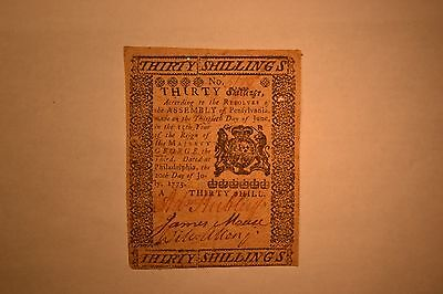 Pennsylvania Colonial Note- July 20, 1775.  Thirty Shillings.  Very Fine/EF.