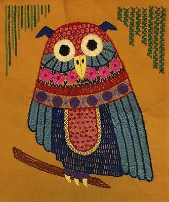 Vtg 70s Embroidered Crewel Owl Bird Finished Completed Wall Pillow Art 15.5 x 17