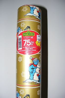 Vintage '88 Sesame Street Christmas Wrapping Paper Bert/Ernie Cookie Monster 75'