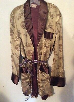 Vtg Retro Chinese Brocade Mens Smoking Jacket Robe~ Gold & Dragons