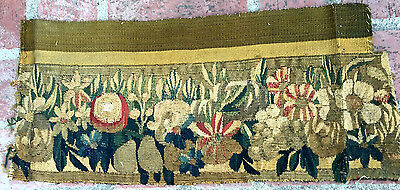 A Great Antique 18th Century Tapestry Fragment with Flowers