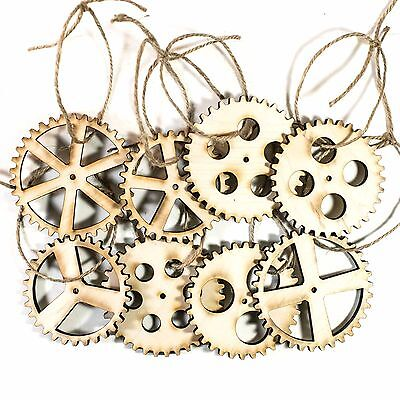 Ornament - Gears Set of 8 - Raw Wood 3x3in